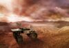 mars rover exploring the red planet surface, 3d illustration